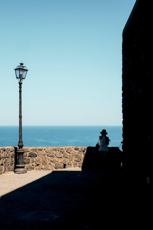 post lamp on corner of terrace