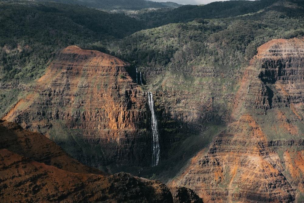 waterfalls and brown terrain