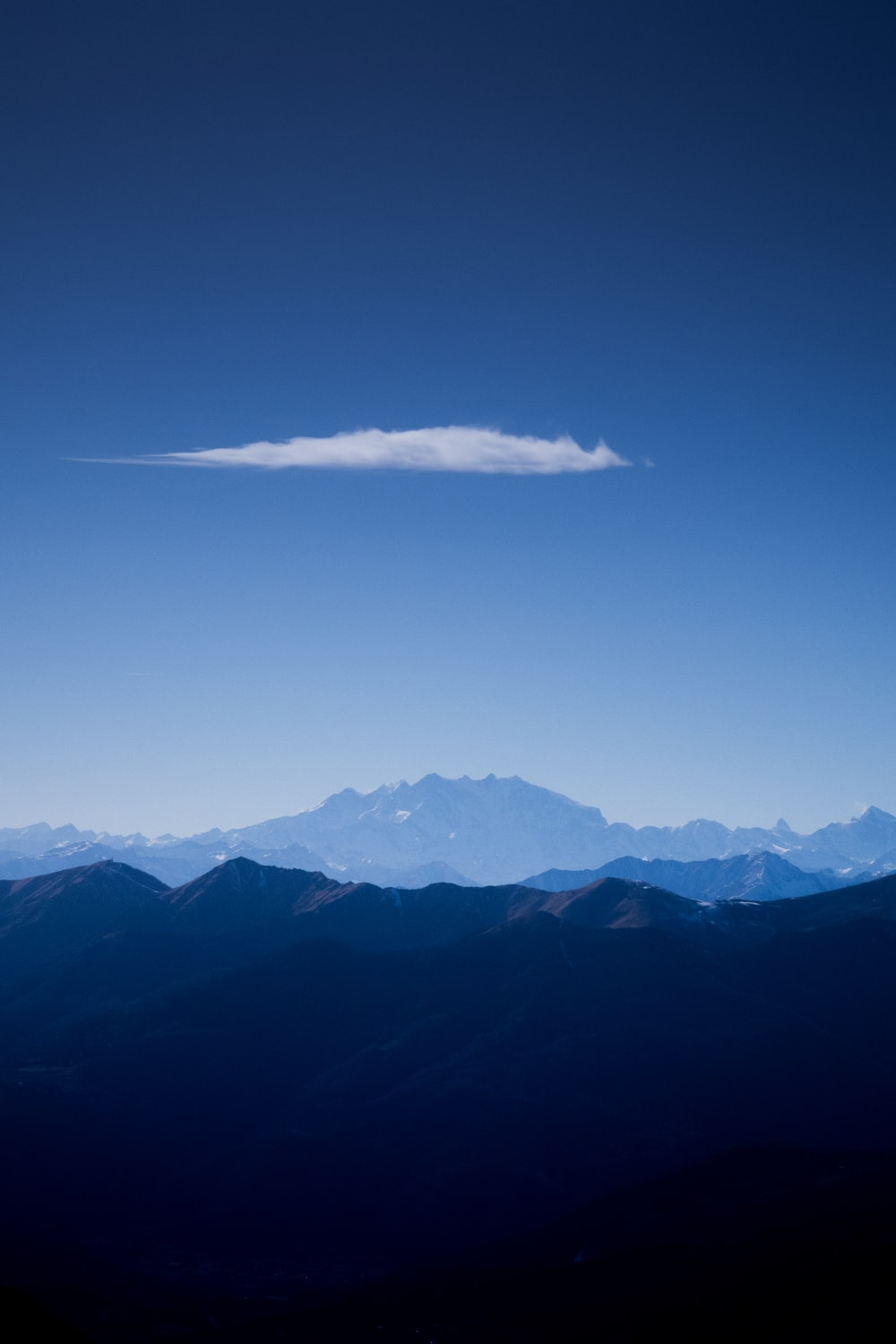 high-angle photography of mountains and clouds