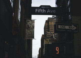 low-angle photography of road with Fifth Avenue board signage