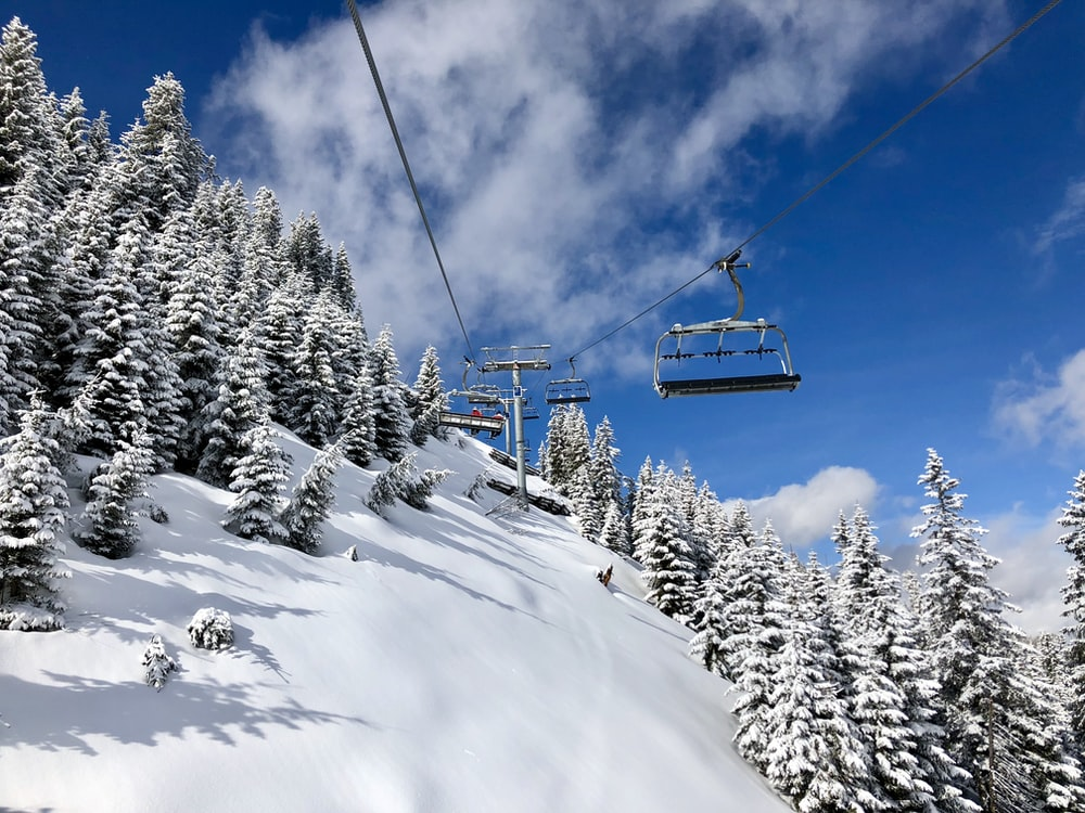 cable cars on snowy mountain
