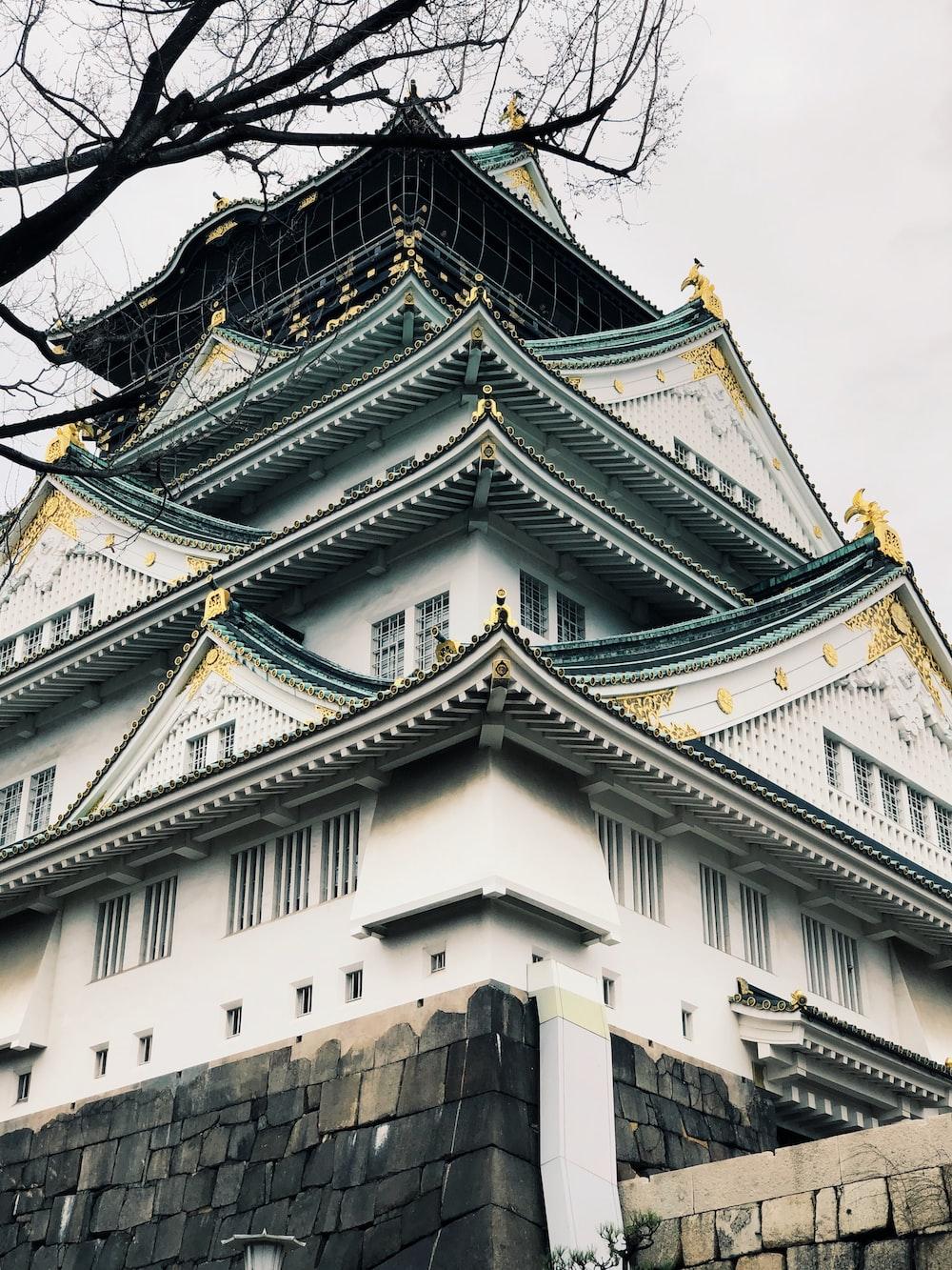 white concrete pagoda house
