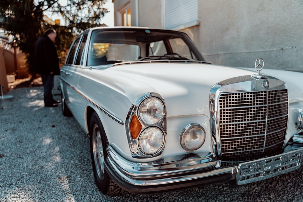 classic white Mercedes-Benz sedan