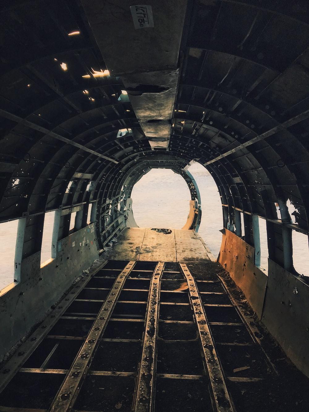 gray metal tunnel
