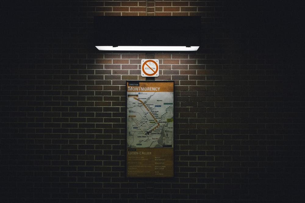 wall signage with light turned-on