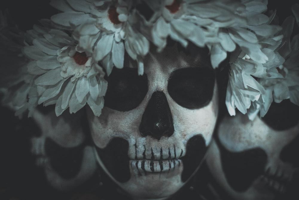 black and white skull decor