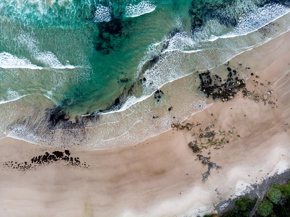 bird's-eye view photography of beach