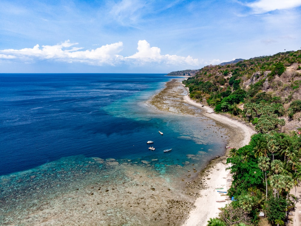 aerial photo of sea beside island