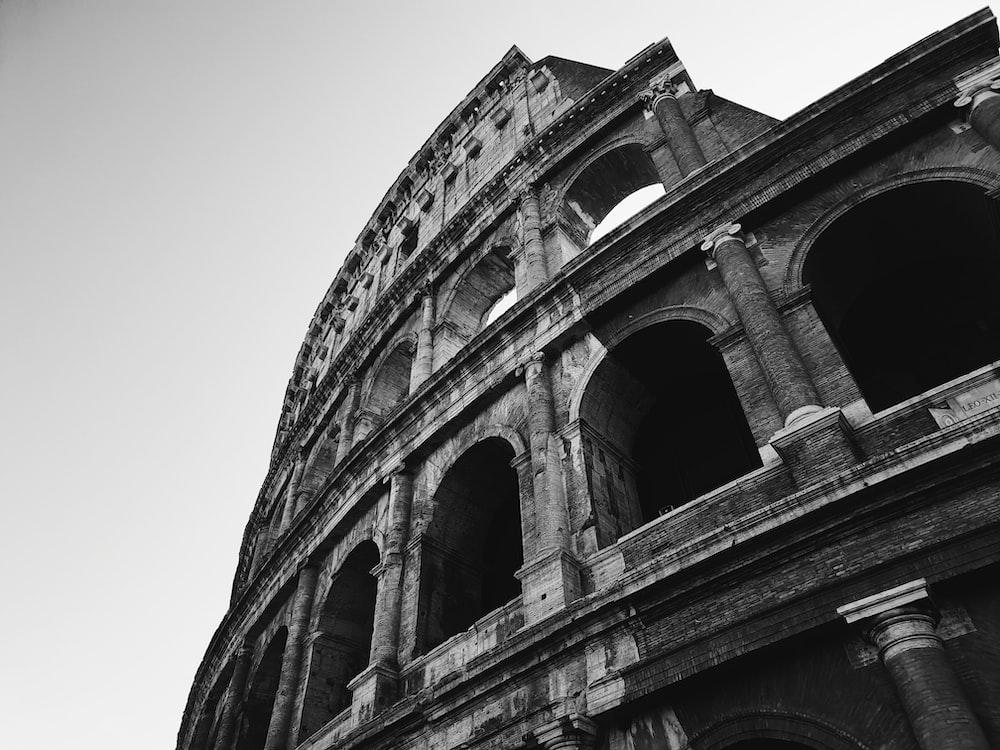 greyscale photography of coliseum