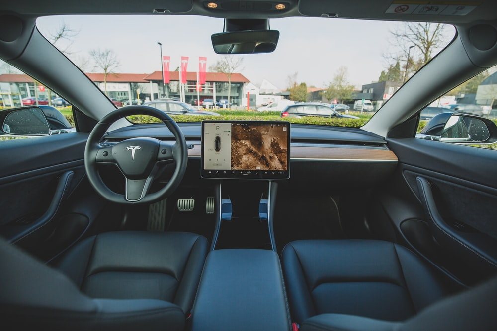 black car interior, Tesla, Tesla auto driving