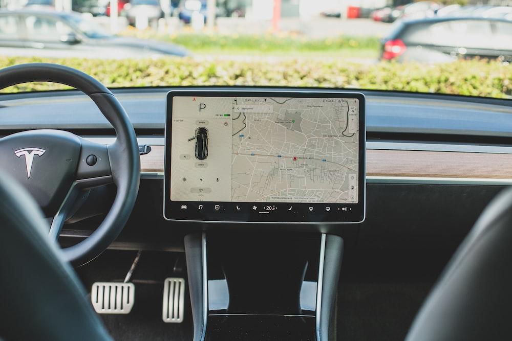 black Tesla car GPS navigator
