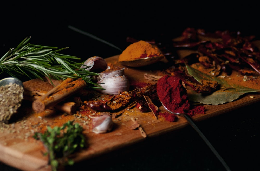spices on chopping board