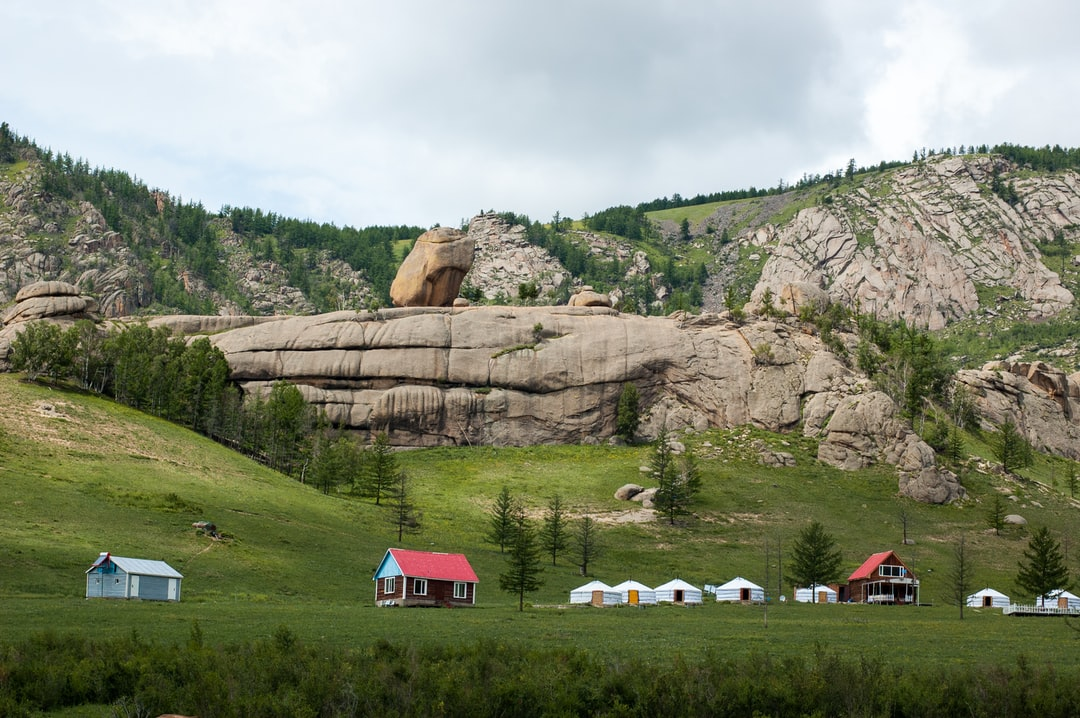 Terelj in Mongolia is known for its rocky mountain formation and is a popular destination for escaping the city Ulaanbaatar.