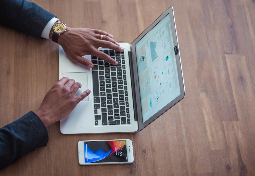 person using MacBook Air