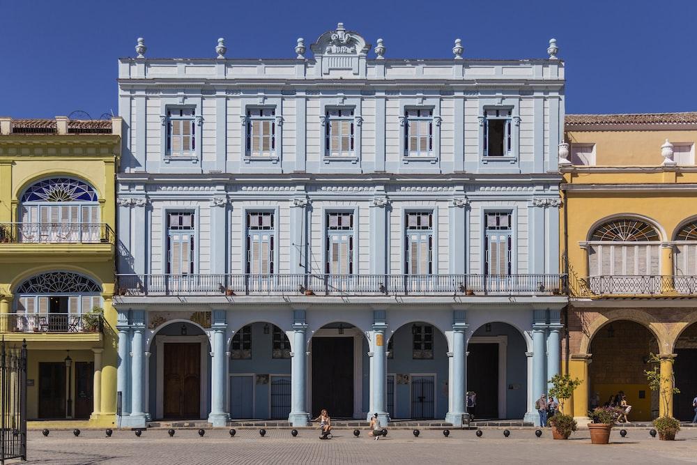 blue and yellow concrete building facade