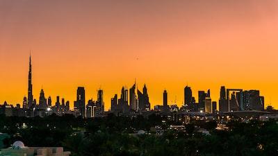 skyline city panorama dubai teams background