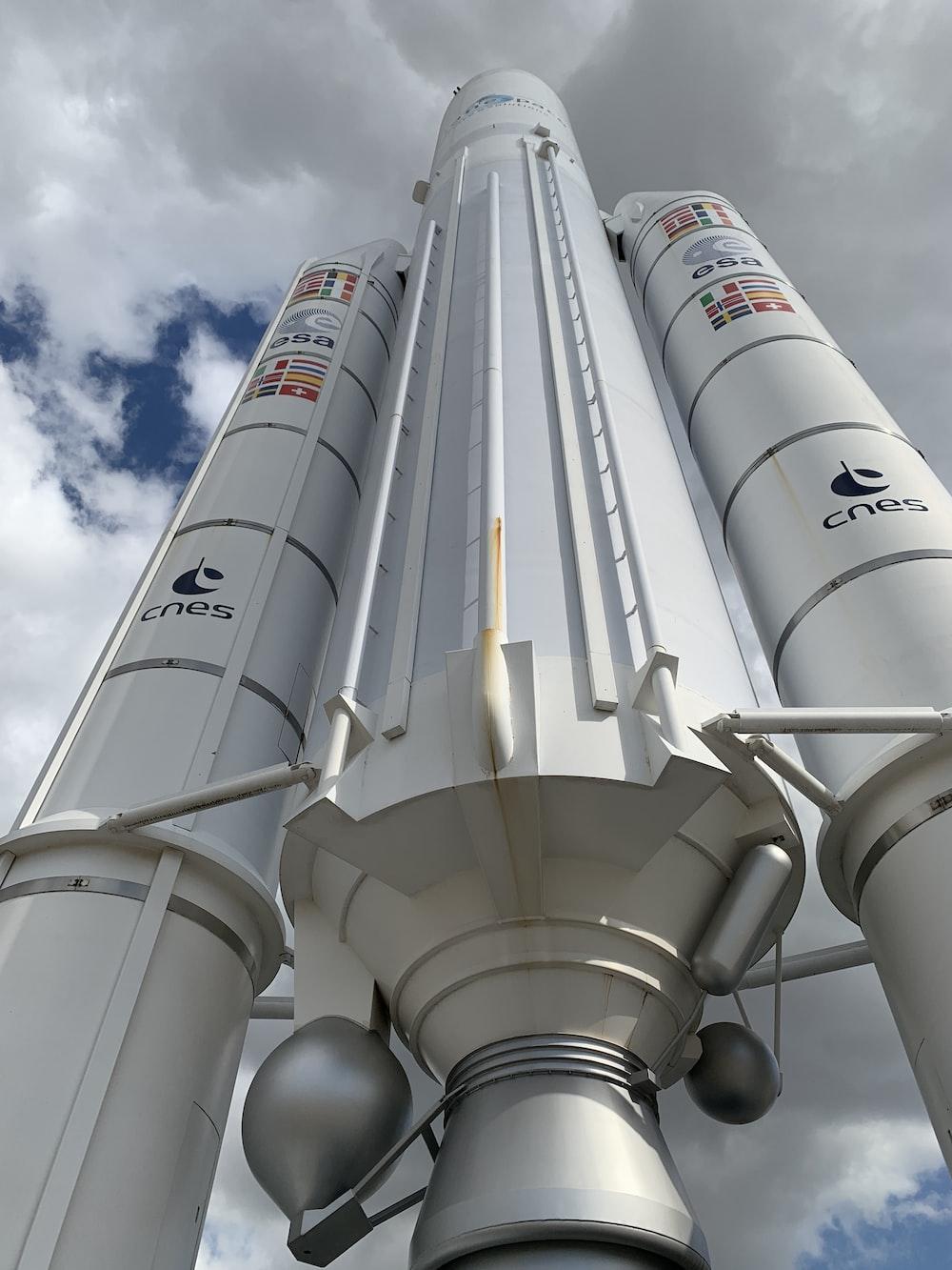 white space shuttle under gray sky
