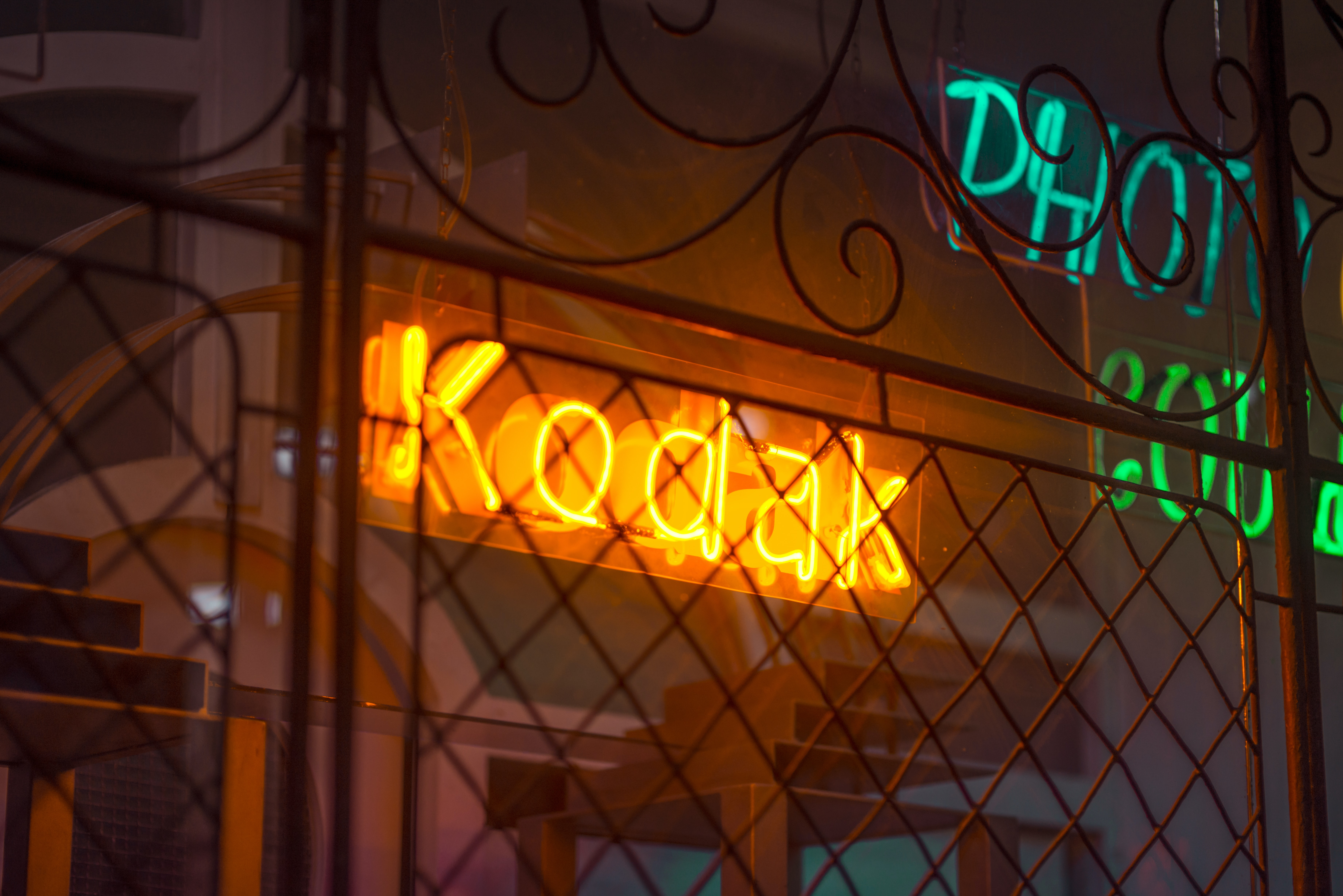 orange Kodak neon light signage