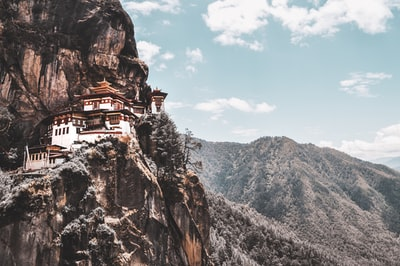 white and brown house on mountain bhutan zoom background
