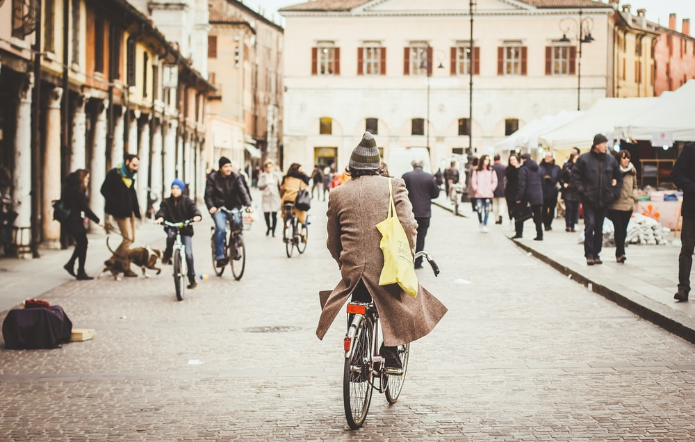 person riding bicycle