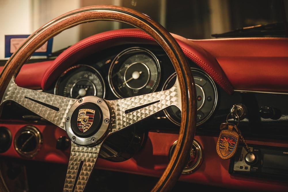 brown and black vehicle steering wheel