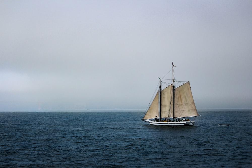 few people in brown sailing boat on sea