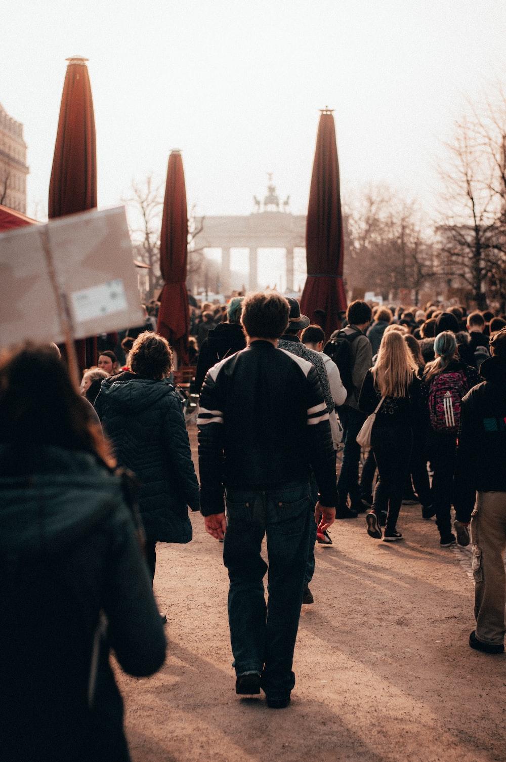 people gathering in open field