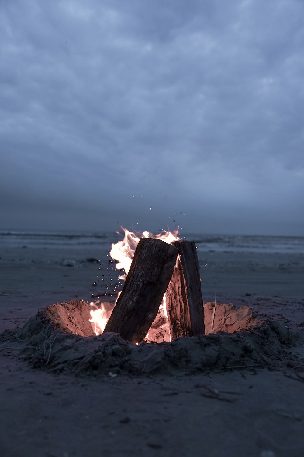 bonfire in sand