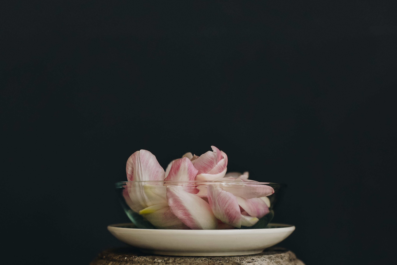 bowl of white petals