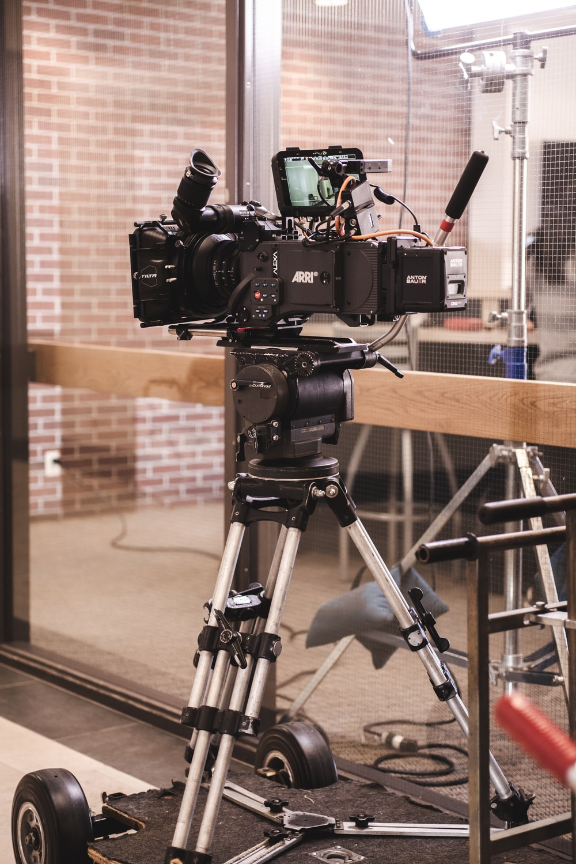 black studio camera with stand