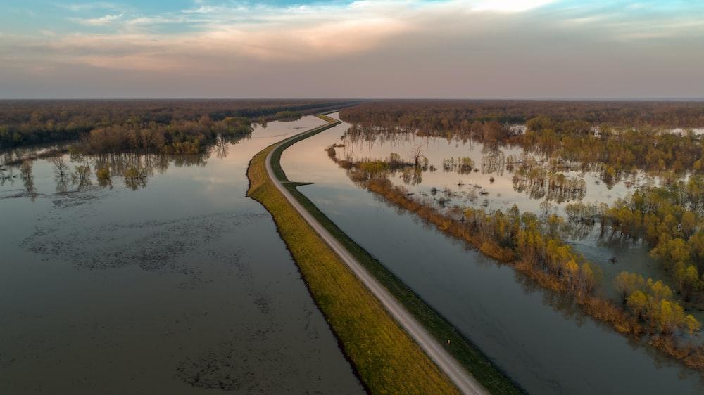 bird's eye view of river
