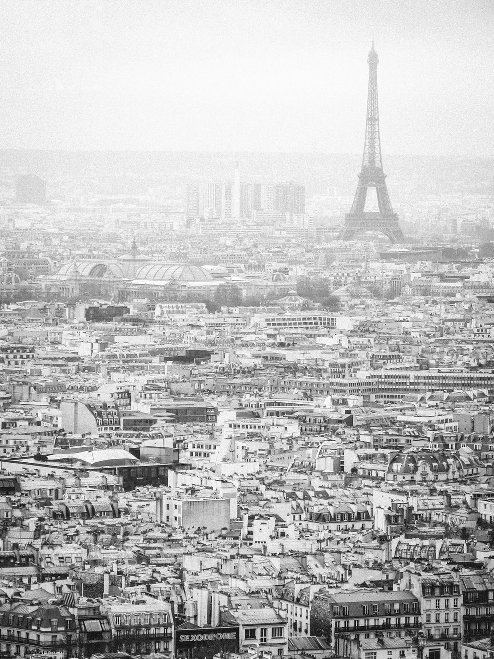 grayscale photo of Eiffel Tower, Paris