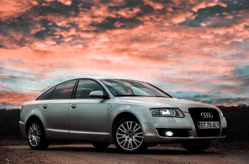 silver Audi A4 sedan
