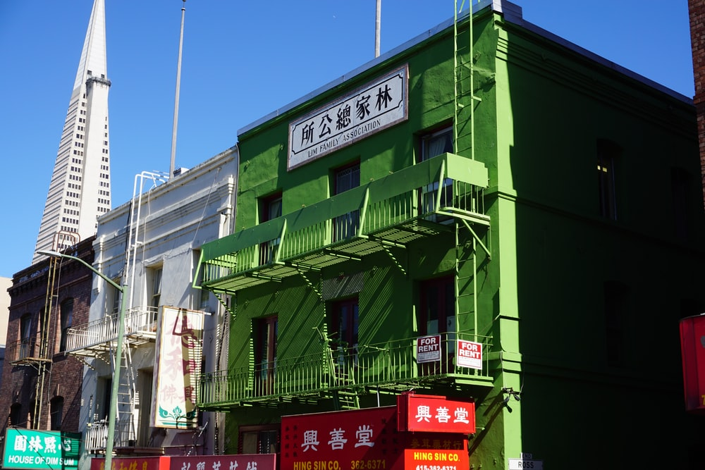green and black building