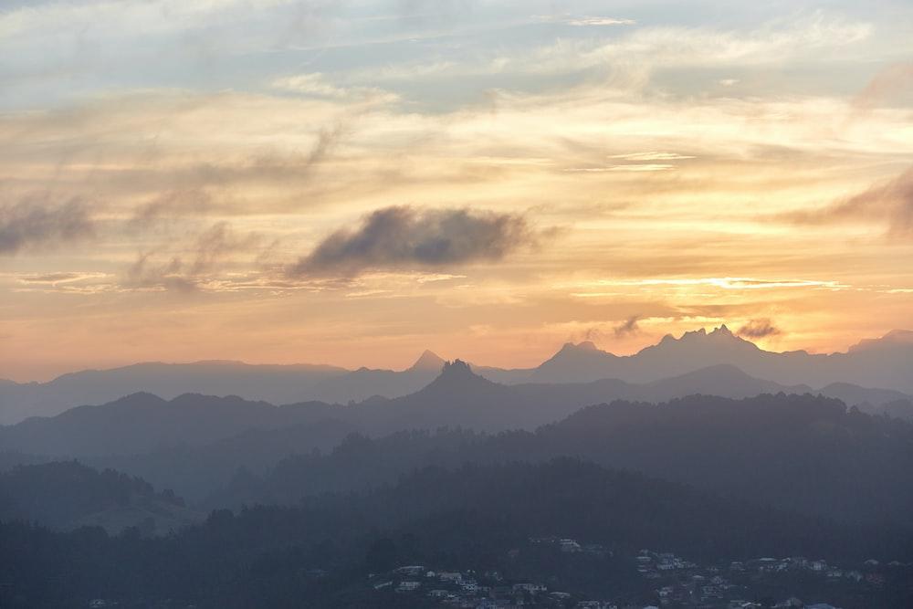silhoette of mountain scenery