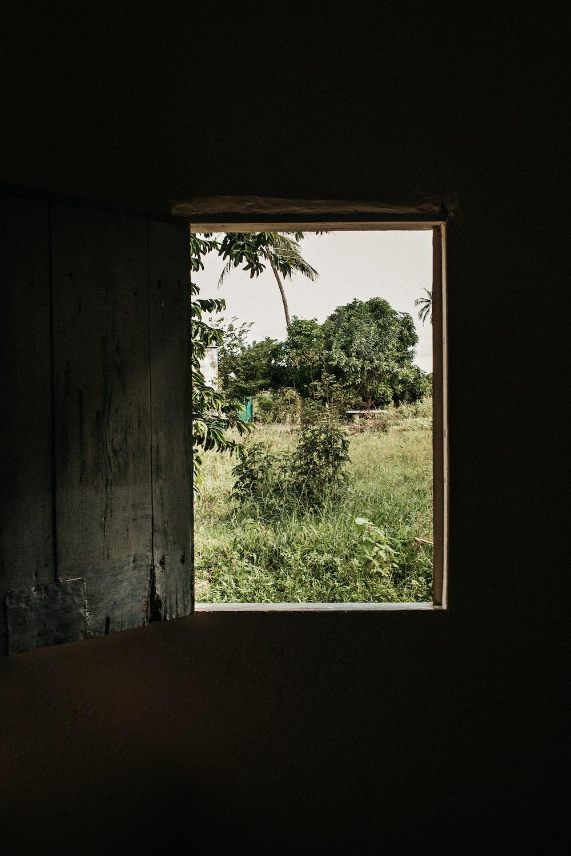 open brown wooden window