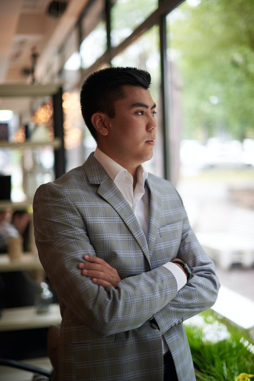 man wearing grey suit