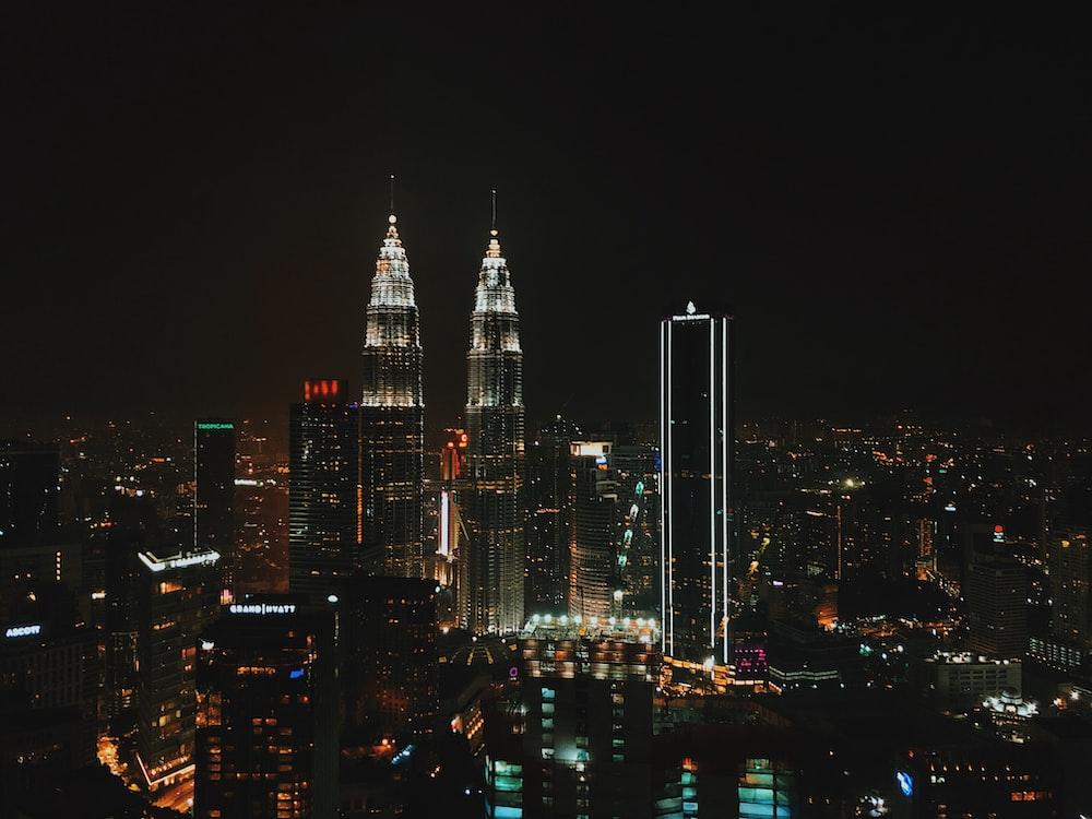 view of a Malaysian city at night