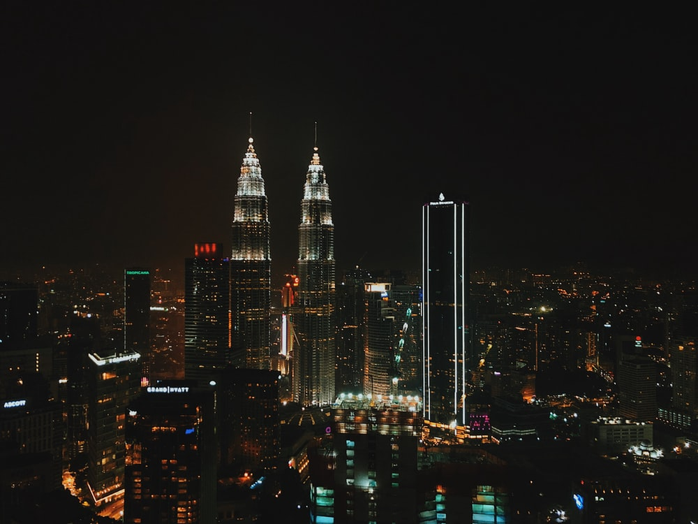view of a Malaysian city at night