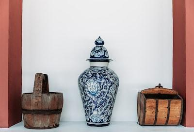 teal and blue floral floor vase art noveau teams background