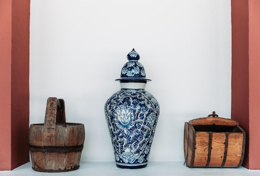 teal and blue floral floor vase
