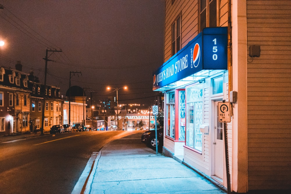 turned on lights on street store signs during nighttime