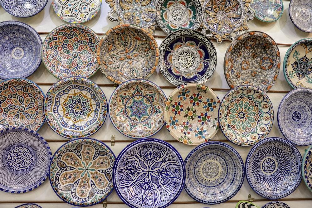 assorted color ceramic decorative plates lot