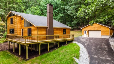 brown wooden cabin house during daytime log home zoom background
