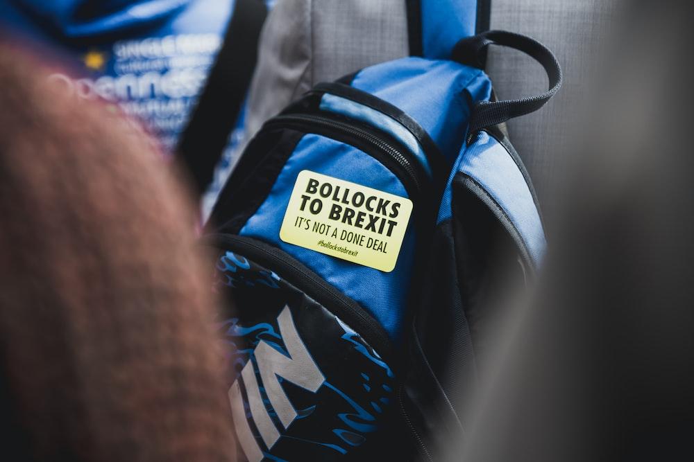 black and blue Nike backpack