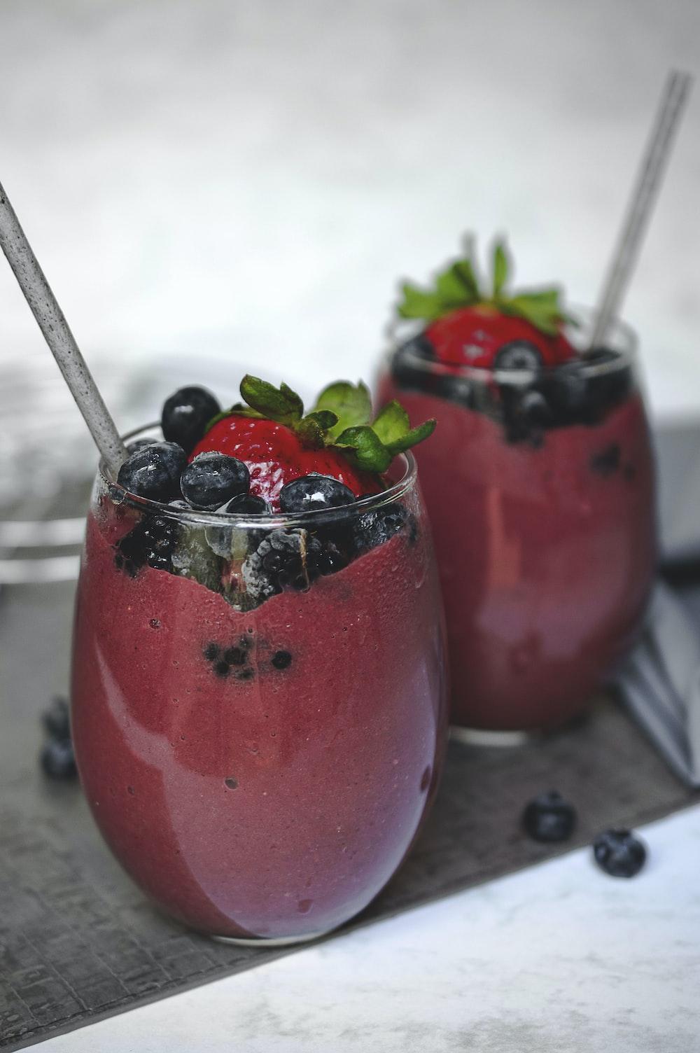 two fruit shake on glasses
