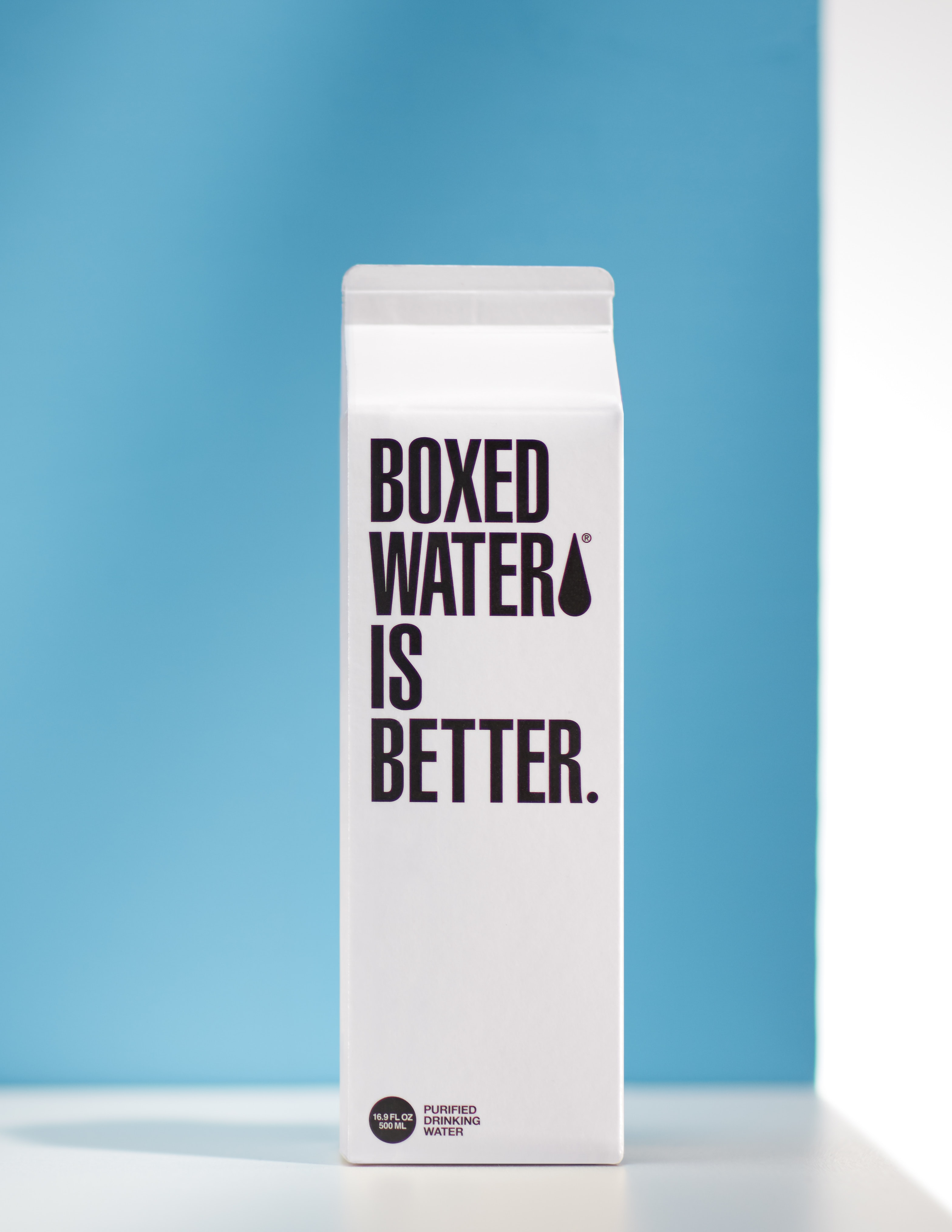 A Boxed Water carton labeled with Boxed Water is Better