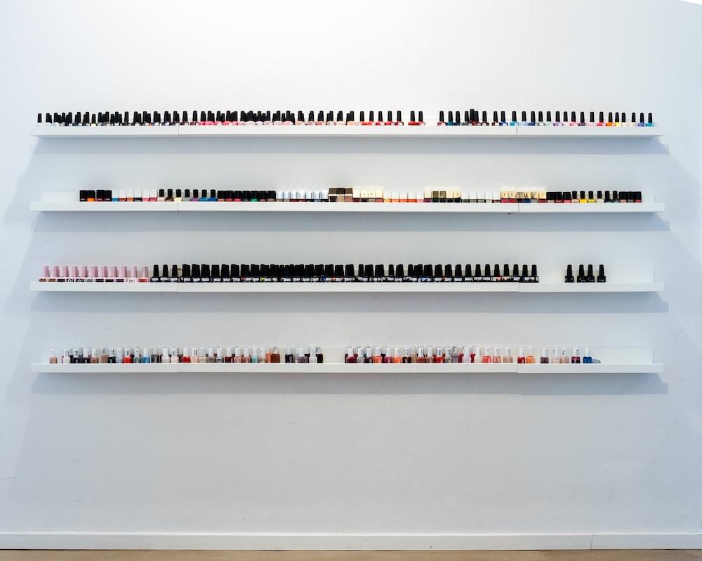 nail polish bottles on rack