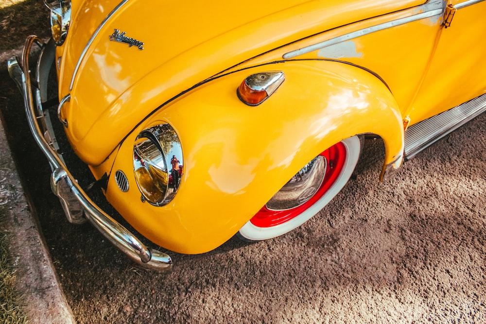yellow classic Volkswagen Beetle