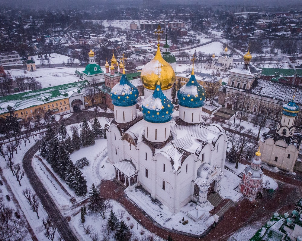 aerial photography of cathedral during winter